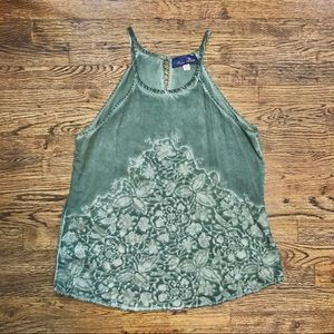 Moss Green Floral Embroidered Tank